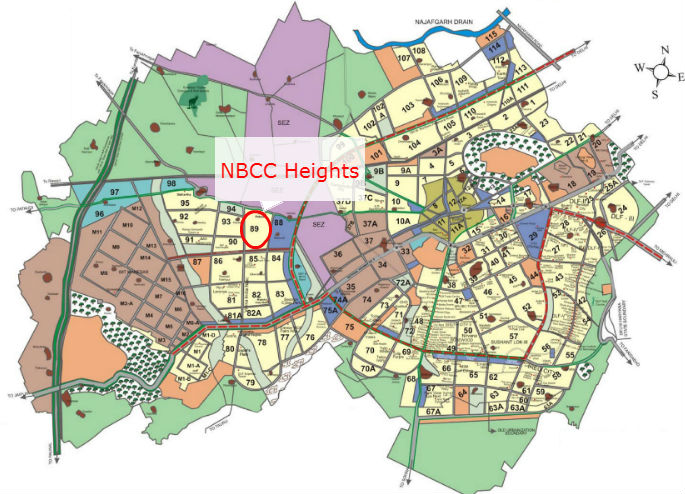 NBCC Heights Location Map NBCC Sector 89